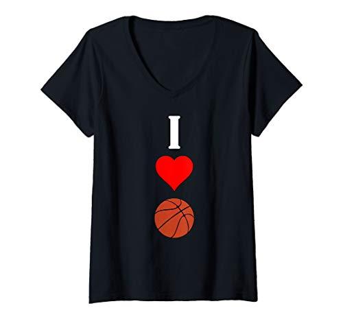 Womens Basketball Player Vertical I Love (Heart) Basketball Graphic V-Neck T-Shirt