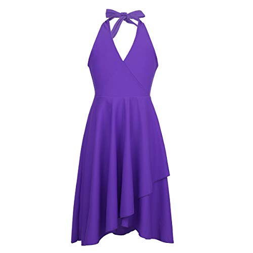 (Alvivi Kids Girls Adjustable Halter Tie V Neckline Liturgical Praise Lyrical Knee Length Dress Purple)