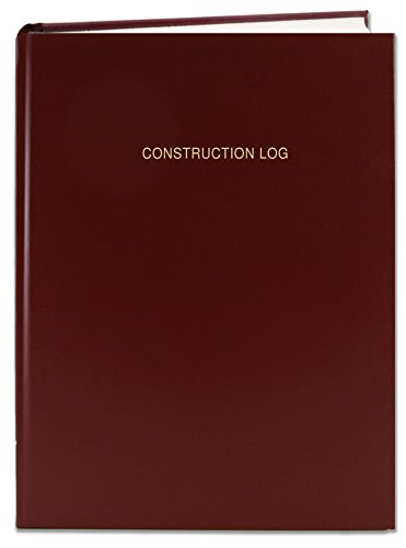 BookFactory Construction Daily Activity Log Book / 365 Day Construction LogBook (384 Pages - 8 7/8'' x 11 1/4'') Burgundy Cover, Smyth Sewn Hardbound (LOG-384-7CS-LM(ConstructionLog)) by BookFactory
