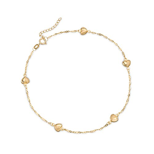 Ross-Simons 14kt Yellow Gold Heart Station Anklet 14kt Gold 9 Inch Anklet