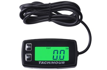 Tachometer With Hour Meter : Trail tech tto surface black front button tach hour