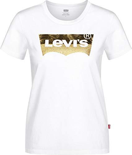 Bianco hsmk Donna Levi's gold The shirt White T Print 0453 Perfect Powder Tee wqF1qaY