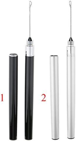 2in1 かぎ針 編み ループフック ニードル ウィッグ ヘアエクステンション用 銀
