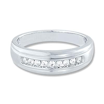 10K White Gold 1/4 cttw Diamond (IJ Colour I2-I3 Clarity) Engagement Mens Ring