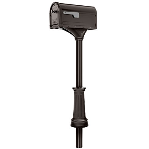 Architectural Mailboxes 7980RZ Roxbury Mount Mailbox and Premium Steel Post Combo, Rubbed Bronze Rubbed Bronze