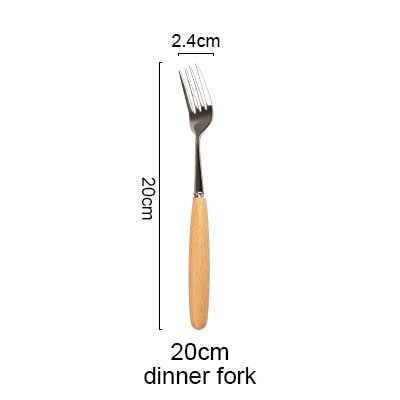 JEWH [1pcs] Wood Handles Stainless Steel - Coffee Ice Cream Dessert Fork - Stirring
