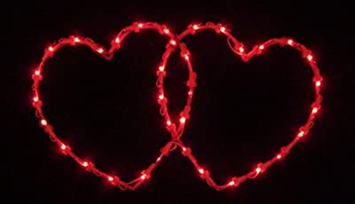 """Sienna 19"""" Lighted Valentine's Day Twinkling Double Heart Window Silhouette Decoration"""