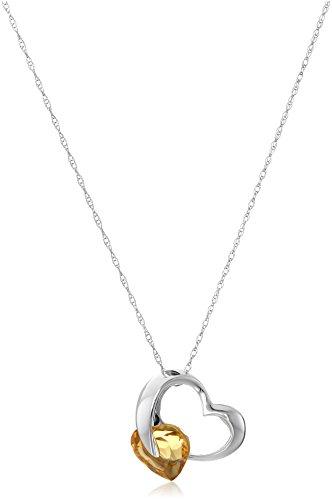 10k White Gold Semi-Precious Gemstone Heart Pendant Necklace, 18