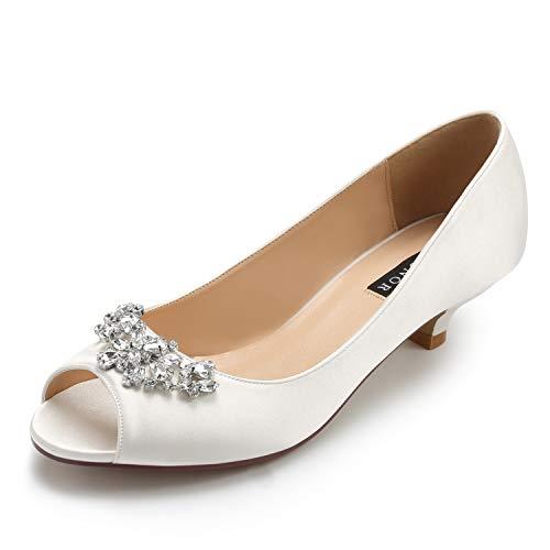 (ERIJUNOR E0111 Women Comfort Low Kitten Heels Rhinestones Peep Toe Wedding Bridal Shoes Flats Ivory Size)