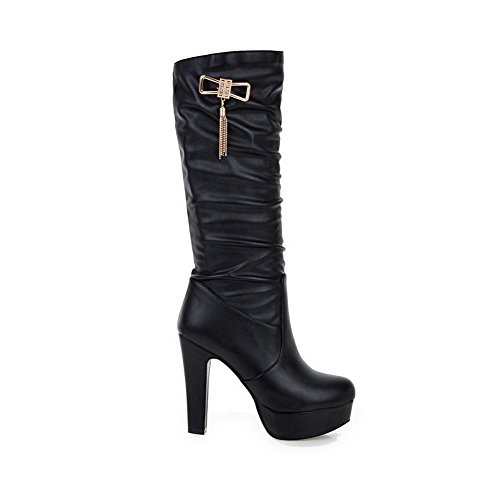 On Toe Closed Round Solid Pull High Allhqfashion Black Boots Heels Pu Women's zqgcw4Y