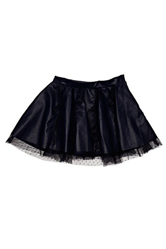 Stitched Leather Skirt (Biscotti Girl's 2-6X Luxe Life' Pleather Skirt, Navy, 6)