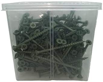 Anti Rust, Recessed Countersunk Head, Sharp Thread 4.0x50mm Tub of 500 High Performance Green Coated Deck Screws Including High Quality Drill Bit 8x2