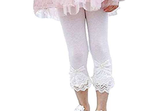 Toddler and Girl Lace Ruffle Capri and Full Length Leggings. (Capri White, 3T)