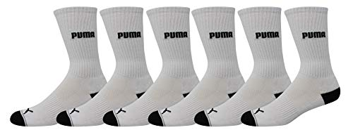 Puma Men's 6 Pack Crew Socks, White/black, 10-13