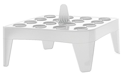 Heathrow Scientific HD2132A Polypropylene Square Floating Microtube Rack, 16 Tube, White (Pack of 4)