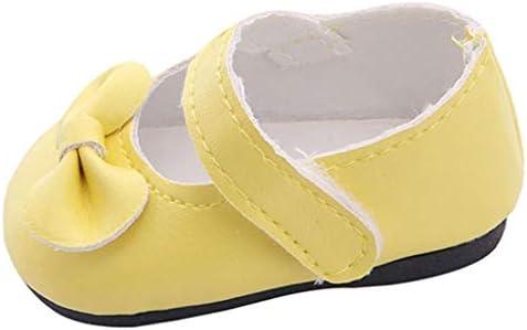 Tachiuwa 18インチアメリカンドール洋服靴ハンドメイド蝶結び靴女の子用3歳以上+ - 黄色