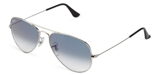 Ray-Ban Aviator Large Metal Light Mirrored Sunglasses, SILVER FRAME / CRYSTAL GRADIENT LIGHT BLUE LENS, 58 mm