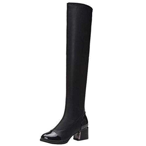 Mashiaoyi Donna Punta-Toe a Collo Alto Tacco a Blocco Senza Chiusura Boots