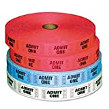 ** Admit-One Ticket Multi-Pack, 4 Rolls, 2 Red, 1 Blue, 1 White, 2000/Roll **