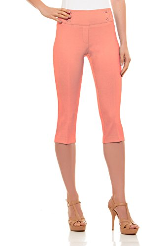 Velucci Womens Classic Fit Capri Pants - Comfortable Pull On Style with Detailed Design, Light Coral-XXL