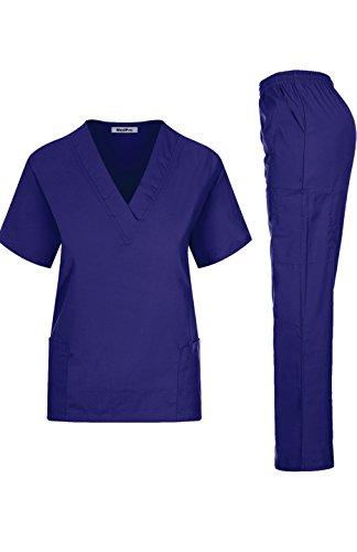 MedPro Women's Medical Scrub Set Mock Wrap and Cargo Purple XL (GT-766)
