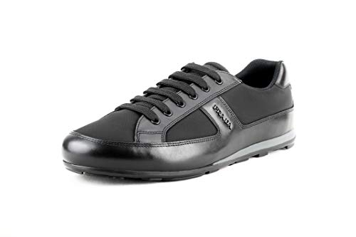 (Prada Men's 4E3231 Black Leather Sneaker EU 11 (45) / US 12)