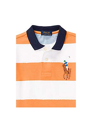 RALPH LAUREN Baby Boy Cotton Stripe Short Sleeve Polo Shirt 6 Month Orange/White