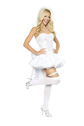 Roma Costume 4 Piece Fantasy Bride Costume, White, Large