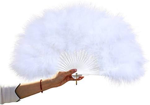 Amazon.com: Yizhiwu Women Large White Feather Flapper Hand Fan for Dance Marabou Folding Fan (White), 5030cm: Clothing