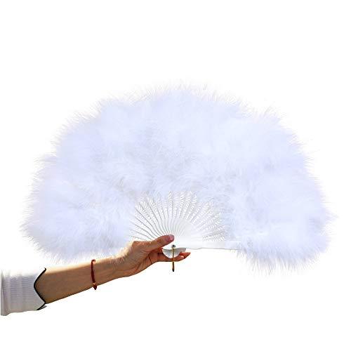 Women Large White Feather Flapper Hand Fan for Dance Marabou Folding Fan (White)