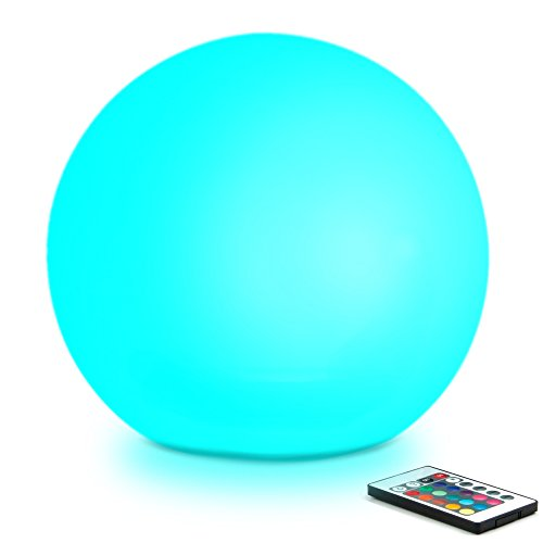 - Mr.Go 14-inch Multi-Function Color Changing LED Ball Light Orb in White, Sturdy Waterproof Rechargeable, Wireless w/Remote Control Beautiful Light Effect, Subtle Ambient Lighting Relaxing Mood Lamp