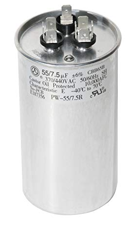PowerWell 55+7.5 uf MFD 370 or 440 Volt Dual Run Round Capacitor TP-CAP-55/7.5/440R Condenser Straight Cool/Heat Pump Air Conditioner (Heat Capacitor Pump)