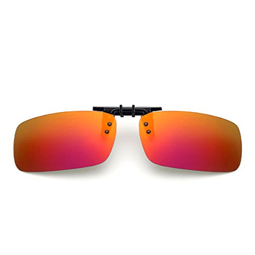 Clip On Sunglasses Red Polarized Flip Up Lenses UV400 Flip on Sunglasses For Men Wowan - Flip On Glasses
