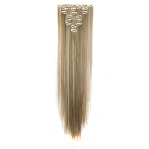 Hair Extension Ginger - LHFLIVE Womens 18 Clips 8pcs Full Head Hair Extensions 26 Inch Long Straight Ginger Brown mix Bleach Blonde Hairpiece