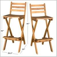 Atlantic Outdoor Folding Wood Bar Stools (Set of 2)