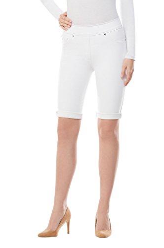 - LUXE DENIM SLIMS Cuffed Skimmer Shorts White M