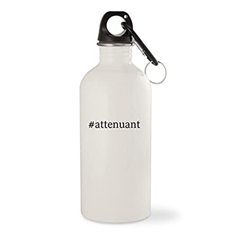 #attenuant - White Hashtag 20oz Stainless Steel Water Bottle with Carabiner ()