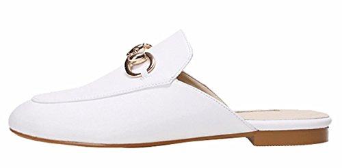 Closed Jiu Summer Slip Comfort Women's Soft on Shoes Toe Flat du Slippers White Sandals Pu Casual wCaqUaTX