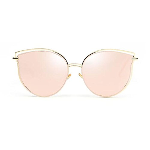 QZ HOME Sunglasses Decorative Mirror Beach Ultralight Street Beat Travel Reflective Vintage Polarized Light Metal Personality Cat's Eye Anti-UV400 (Color : 3)