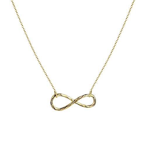Delicate 14k Gold Necklaces - Fettero Handmade Infinity Necklace 14K Gold Filled Dainty Delicate Infinite Love Pendant Necklace for Women 16.5