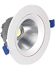 LED Recessed Downlight Aluminum Recessed Round COB Ceiling Light Fitting Anti-Glare LED Ceiling Downlight Spot Lamps Indoor Grille Integrated Spotlight Lighting for Home Office Commercial Decor Lamp