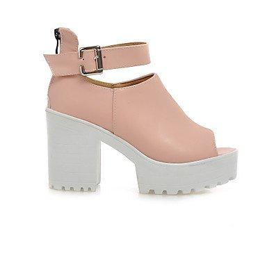 LvYuan Mujer Sandalias Zapatos formales Semicuero Primavera Verano Boda Vestido Zapatos formales Cremallera Tacón Robusto Blanco Azul Rosa12 cms White
