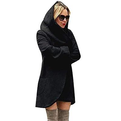 TnaIolr Women's Cardigan Coat,Women Woolen Hooded Thin Coat Loose Ladies Casual Hoodies Jacket Overcoat Top