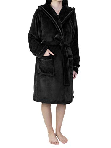 - Women Soft Fleece Hooded Robe with Satin Trim | Short Knee Length Plush Warm Bath Spa Robe with Hood
