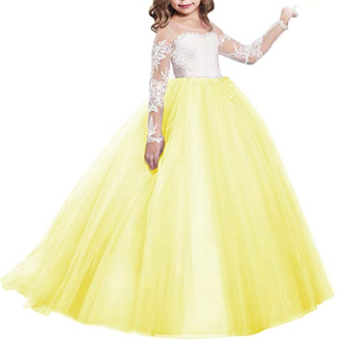 Girls Flower Lace Princess Graduation First Communion Tulle Long Sleeve Dress for Kids Maxi Gown Prom Dance Evening Yellow 2-3 Years ()