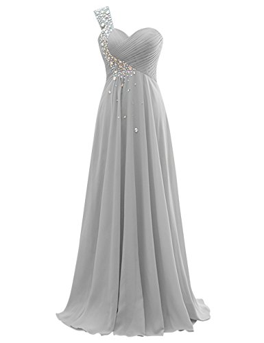 Long Dresses Dasior Bridesmaid Silver Women's Party Chiffon wHE1ExfPq