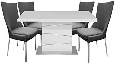 New Spec 5 PC Modern Dining Set in Gray