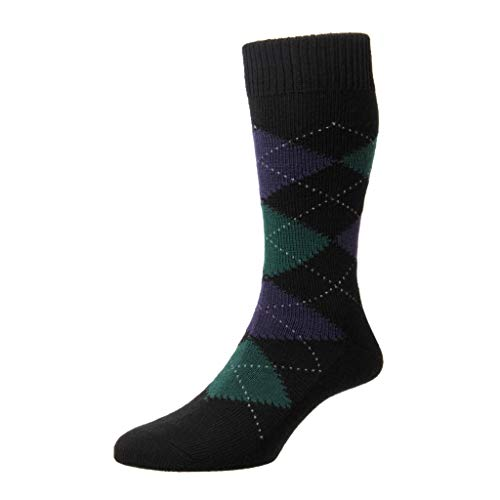 Pantherella Men's Mid Calf Racton Argyle Merino Wool Dress Socks, Black, Large