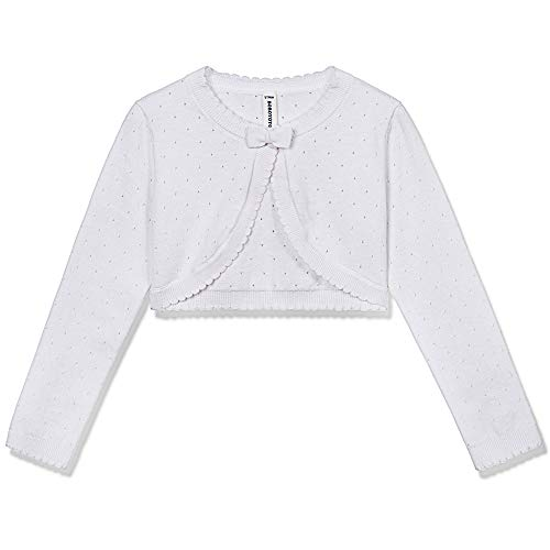 BOBOYOYO Girl's Cardigan Sweater Long Sleeve Bow Shrug Short Cotton Dress Cover Up 3-12Y White (Girls Long Cardigan)