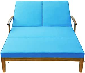 Outdoor Double Chaise Lounge Chair for 2 Persons Patio Backyard Solid Wood Frame Daybed with Cushion and Wheels, Natural Wood Finish+Blue Cushion